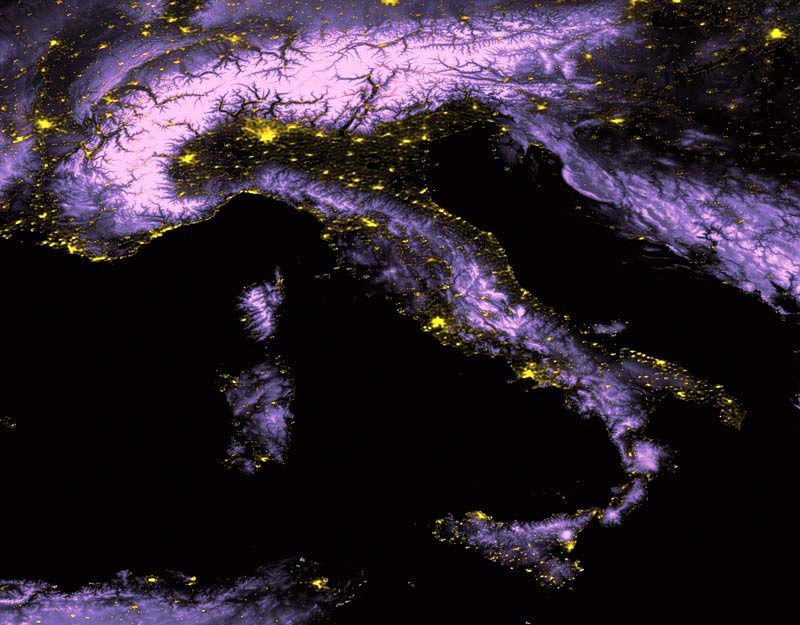 Italy by night from DMSP satellite