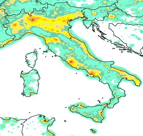 Maps of night sky brightness - Light pollution in italy ...