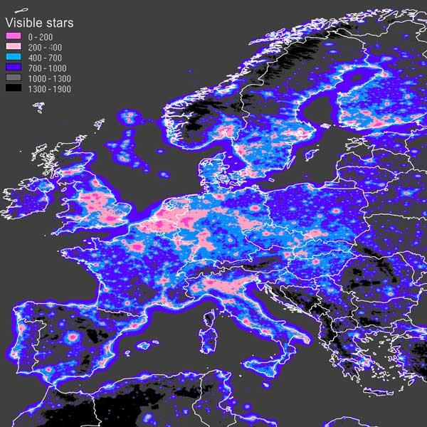 Dados sobre Poluição Luminosa / Visibilidade do céu nocturno no mundo
