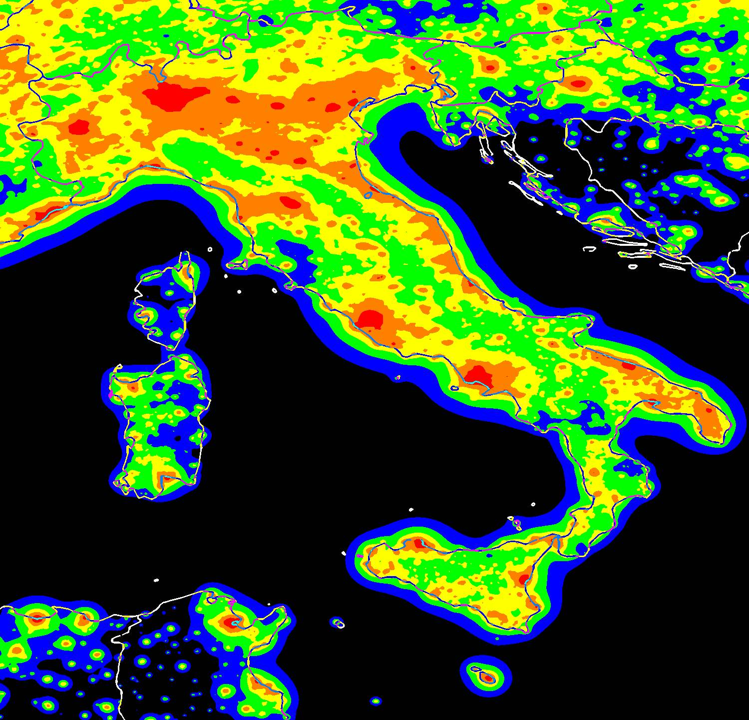 The Night Sky In The World Pierantonio Cinzano Web Pages - Map of light pollution us