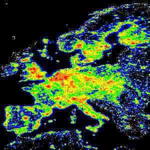 Ljusföroreningar över europa