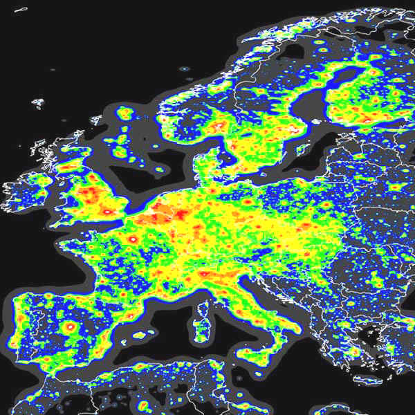 Lichtverschmutzung in Europa