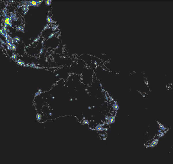 The World Atlas of the Artificial Night Sky Brightness on japan at night, middle east at night, united kingdom at night, italy at night, russia at night, romania at night, asia at night, mexico at night, empire state chrysler building at night, london at night, globe at night, north korea at night, china at night, u.s at night, home at night, planet earth at night, high resolution earth at night, africa at night, full chrysler building at night, usa at night,
